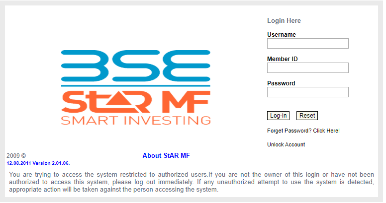 BSE STAR MF Log-in page